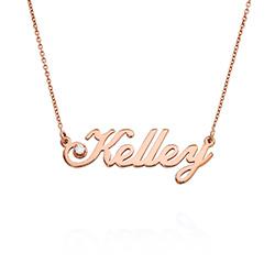 Lille klassisk navnehalskæde med 0,05 ct diamant i rosa guldbelægning produkt billede