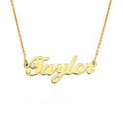 Lille klassisk navnehalskæde med 0,05 ct diamant i guld-vermeil produkt billede