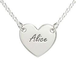 Graveret hjertesmykke i sølv produkt billede