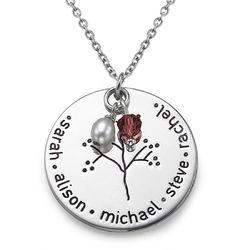 Halssmykke i sølv med familietræ produkt billede