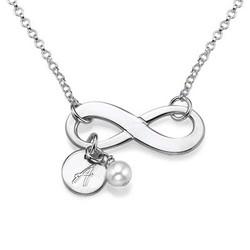 Infinity halskæde med bogstav og fødselssten i sølv produkt billede