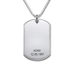 Personlig halskæde i sølv med dog tag produkt billede