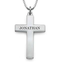 Kors halskæde til mænd med indgravering i sølv produkt billede