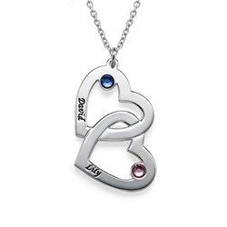 Hjerte i hjerte halskæde med månedssten i sølv produkt billede