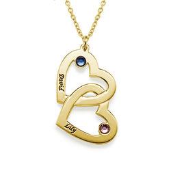 Hjerte i hjerte halskæde med månedssten i forgyldt sølv produkt billede