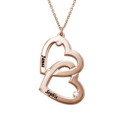 Hjerte-i-Hjertehalskæde med diamant - rosaforgyldt produkt billede