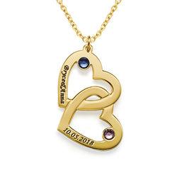Hjerte i hjerte halskæde med månedssten i guld vermeil product photo