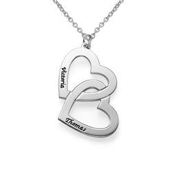 Hjerte-i-hjerte halskæde i sølv produkt billede