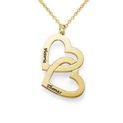 Hjerte-i-hjerte halskæde i forgyldt sølv produkt billede