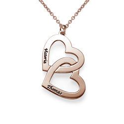 Hjerte-i-hjerte halskæde i forgyldt sølv product photo