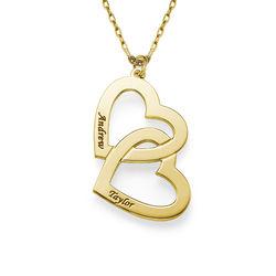 Hjerte-i-hjerte halskæde i 10 karat guld produkt billede