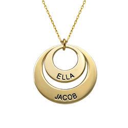 Morsmykke med to cirkler og indgravering i 10 karat guld produkt billede
