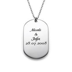 Dog tag halskæde med kursiv indgravering i sølv produkt billede