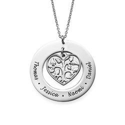 Livets træ halskæde med hjerte i sølv produkt billede