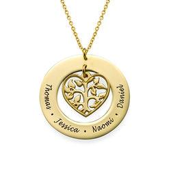 Livets træ halskæde med hjerte i forgyldt sølv produkt billede