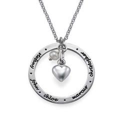 Mor smykke med hjertevedhæng i sølv produkt billede