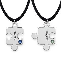 Puslebrik-halskæde for Par med Månedsten product photo