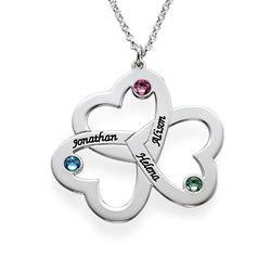 Triple-hjertesmykke til mor med fødselssten i sølv produkt billede
