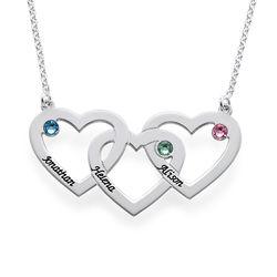 Hjerte i hjerte halskæde med fødselssten i sølv produkt billede