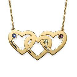 Hjerte i hjerte halskæde med fødselssten i forgyldt sølv produkt billede