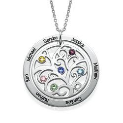 Livets træ halskæde med månedssten i sølv produkt billede