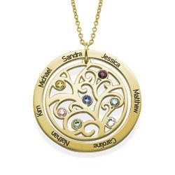 Livets træ halskæde med månedssten i forgyldt sølv produkt billede