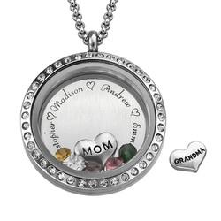 Medaljon halskæde til mor med charms produkt billede