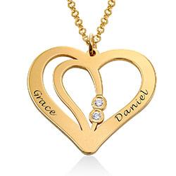 Indgraveret parhalskæde i 18 kt guld vermeil med diamant produkt billede