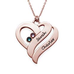 To hjerter banker som èt-halskæde med fødselssten i rosaforgyldt sølv product photo