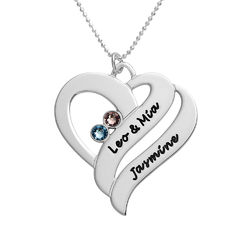 To hjerter banker som èt-halskæde med fødselssten i 10 karat hvidguld produkt billede