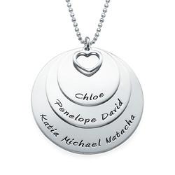 Mor halskæde med navne indgraveret i sølv produkt billede