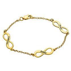 Infinity armbånd til mor med navn i guld vermeil product photo