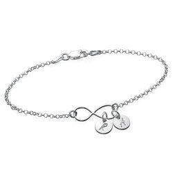 Infinity armbånd / ankelkæde med bogstav vedhæng produkt billede