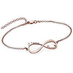 Infinity armbånd med navne - rosaforgyldt produkt billede