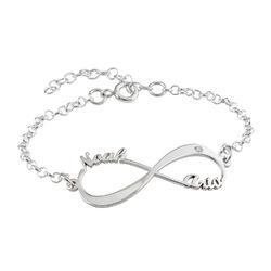 Personligt infinity armbånd med diamant i sølv produkt billede