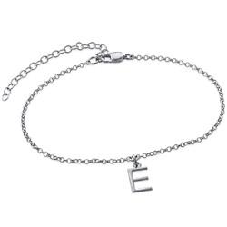 Ankelkæde med bogstav i sølv produkt billede
