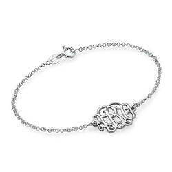 Monogram armbånd med initialer i sølv produkt billede