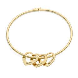 Bangle armbånd med hjerteformede charms - guldbelagt produkt billede