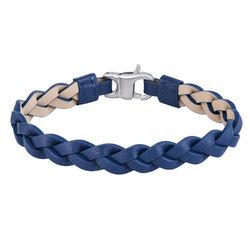 Nautisk læderarmbånd til mænd i blå flet produkt billede