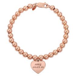 Indgraveret armbånd med perler og hjerte vedhæng - rosaforgyldt produkt billede
