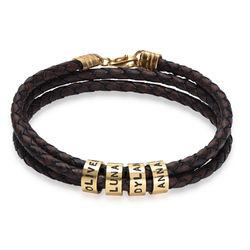 Flettet brunt læderarmbånd til mænd med graverede ringe i forgyldt produkt billede