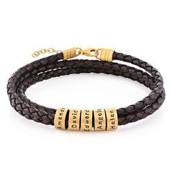 Læderarmbånd til kvinder med små ringe med indgravering - guld vermeil product photo