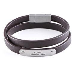 Brunt læderarmbånd med indgraveringsplade produkt billede