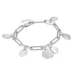 Personligt link armbånd med graverede charms i Sterlingsølv produkt billede