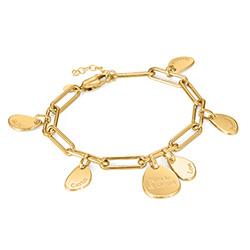 Personligt link armbånd med graverede charms i 18kt. guld vermeil produkt billede