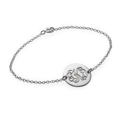 Armbånd med bogstaver i momogram stil i sølv produkt billede