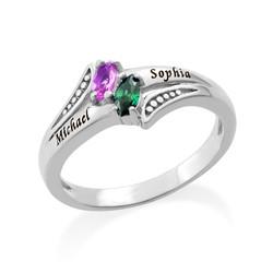 Personlig ring med indgravering og to fødselssten i sølv produkt billede
