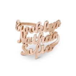 Ring med tre navne i rosaforgyldt sølv produkt billede