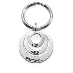 Indgraveret nøglering med tre cirkler i sølv produkt billede