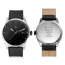 Odysseus dag dato minimalistisk herreur med sort læderrem produkt billede